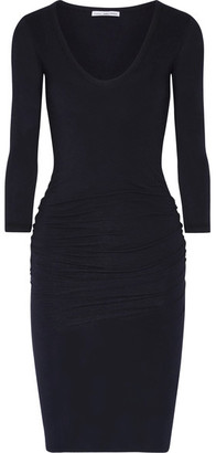 James Perse - Ruched Stretch-cotton Jersey Dress - Midnight blue $225 thestylecure.com