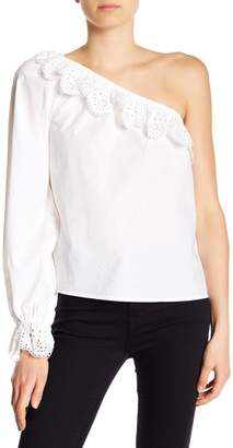 Joie Arianthe One Shoulder Eyelet Lace Detailed Top