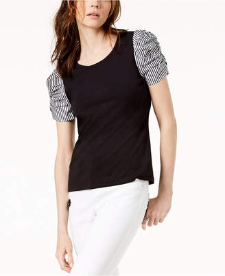INC International Concepts I.n.c. Ruched-Sleeve Contrast Top, Created for Macy's