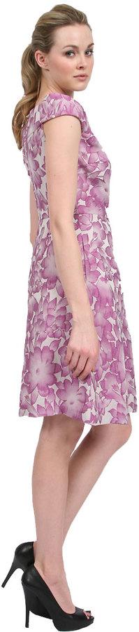 Kay Unger New York Floral Off Shoulder Jacquard in Orchid Multi