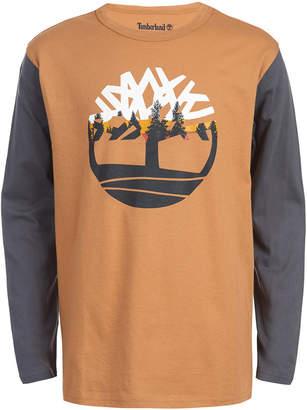 Timberland Big Boys Grafton Wheat Colorblocked Logo T-Shirt
