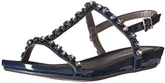 Kenneth Cole Reaction Women's Lost Catch Flat Open Toe Gemstone Accents-Patent Gladiator Sandal