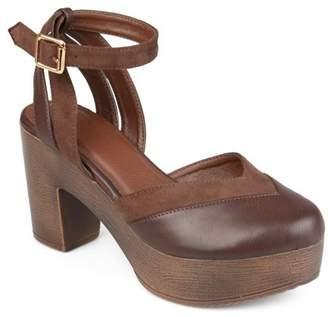 Co Brinley Womens Faux Leather Faux Suede Ankle Wrap Platform Heels