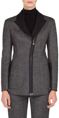 Akris Asymmetrical Zip Double Face Tweed Jacket