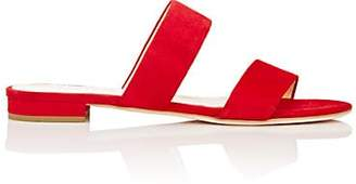 Barneys New York Women's Suede Double-Band Slides - Red