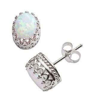 Tiara Sterling Silver Lab-Created Opal Oval Crown Stud Earrings