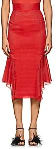 J. Mendel Women's Metallic-Striped Silk-Blend Handkerchief Skirt - Red