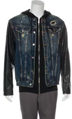 DSQUARED2 Leather-Trimmed Hybrid Denim Jacket