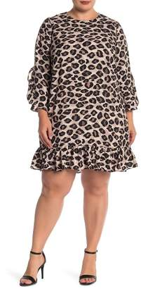 Eliza J Printed Drop Waist Dress (Plus Size)