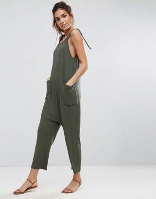 Asos DESIGN Jersey Minimal Jumpsuit with Ties