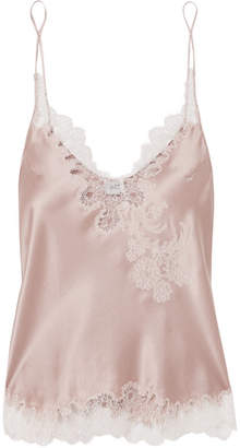 Carine Gilson Chantilly Lace-trimmed Silk-satin Camisole - Blush