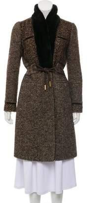 Etro Fur-Trimmed Tweed Knee-Length Coat
