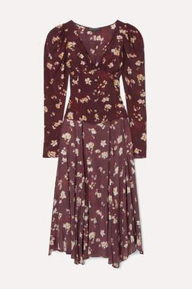 Caroline Constas Mya Asymmetric Floral-print Silk-chiffon Top - Burgundy
