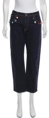 Fendi Embellished Mid-Rise Jeans