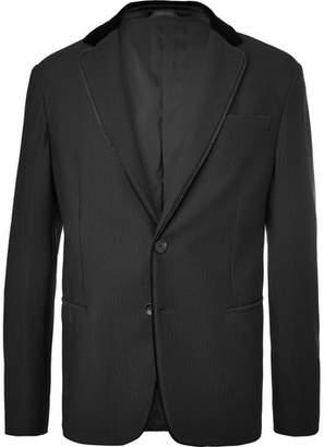Giorgio Armani Black Velvet-trimmed Textured-jersey Blazer