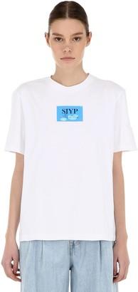 Sjyp Plastic Logo Patch Cotton Jersey T-Shirt
