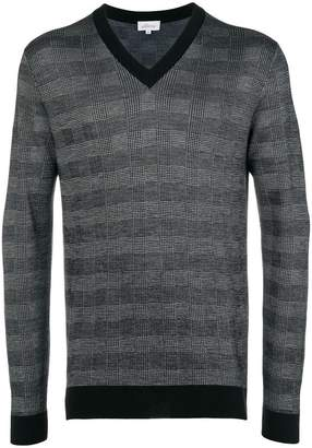Brioni checked v-neck jumper