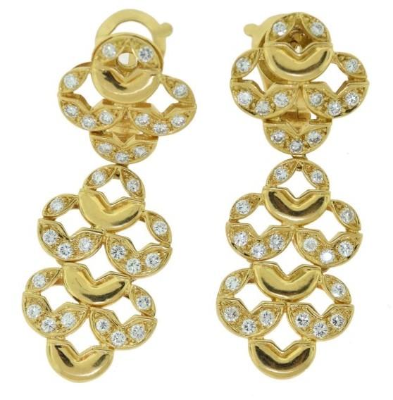 Van Cleef & ArpelsVan Cleef & Arpels 18K Yellow Gold 2.30 Ct Diamond Gold Dangle Earrings