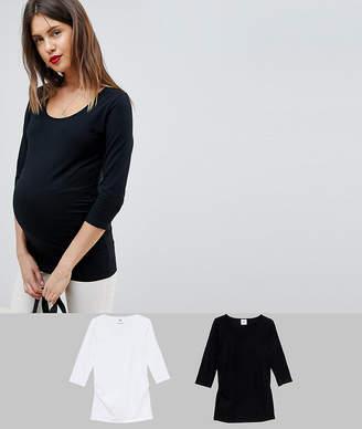 Mama Licious Mama.licious Mamalicious mixed 2 pack 3/4 sleeve organic cotton jersey top
