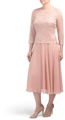Tea Length Lace Top Dress