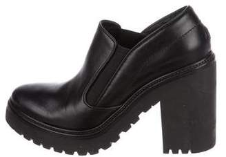 Moncler Leather Round-Toe Booties