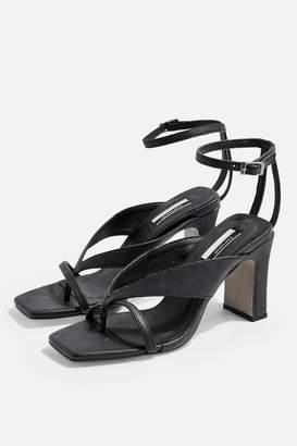Topshop Womens Reid Vegan Black Strappy Sandals - Black