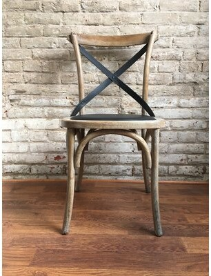 Union Rustic Lyndsay Antique Cross Back Upholstered Dining Chair Union Rustic