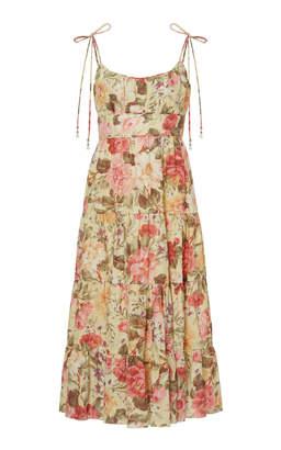 Zimmermann Honour Floral-Print Linen Midi Dress