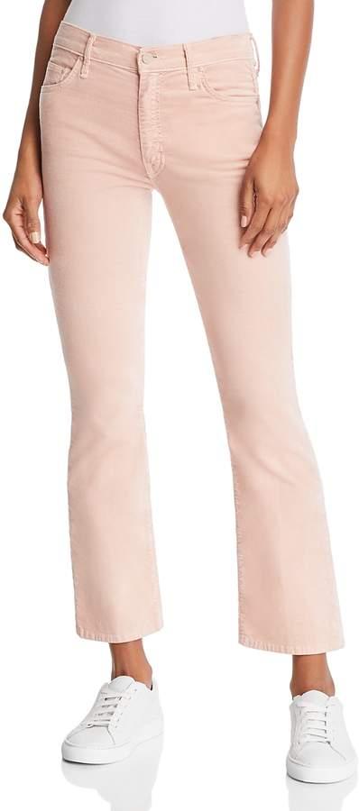The Insider Velvet Cropped Flared Jeans in Petal Pink