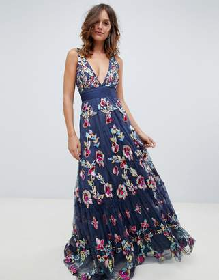 A Star Is Born embellished prom maxi dress with plunge front in multi