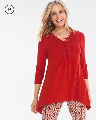 Chico's Chicos Petite Lace-Front Top