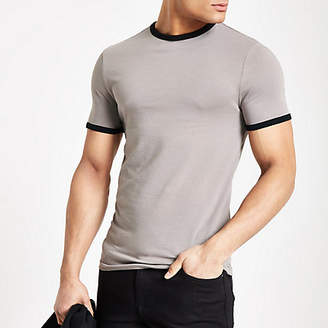 Mens Beige muscle fit ringer t-shirt
