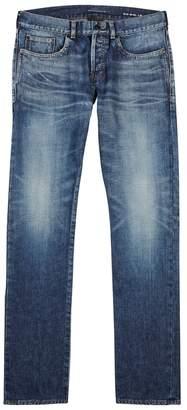 Saint Laurent Blue Distressed Slim-leg Jeans