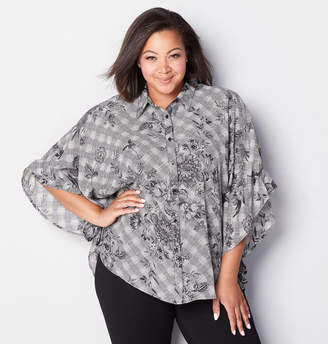 Avenue Floral Herringbone Button Front Poncho