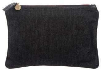 Clare Vivier Leather-Trimmed Denim Clutch