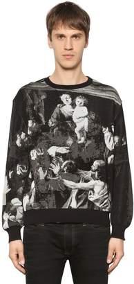 Off-White Off White Caravaggio Cotton Blend Jacquard Sweater