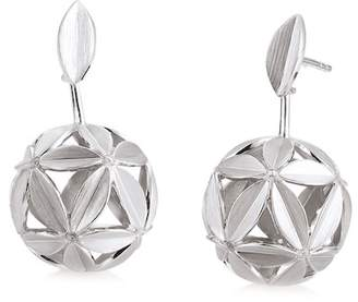 Breuning Sterling Silver White Sapphire Embellished Flower Ball Drop Earrings