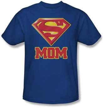 Superman Super Mom Adult T-Shirt In Blue