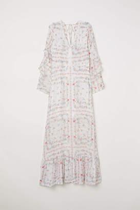 H&M Long V-neck Dress - White/floral - Women