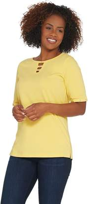 Factory Quacker Elbow-Sleeve Knit T-Shirt with Bling Detail