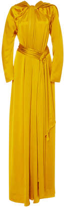 Paule Ka Long Sleeve Draped Gown with Belt