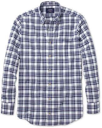 Charles Tyrwhitt Classic Fit Button-Down Poplin Navy Blue Check Cotton Casual Shirt Single Cuff Size Large