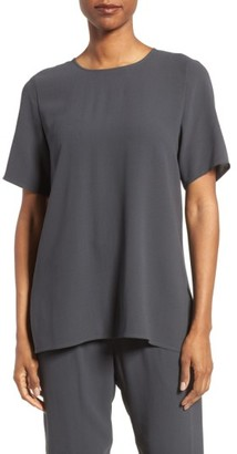 Women's Eileen Fisher Silk Crepe Round Neck Boxy Top $248 thestylecure.com