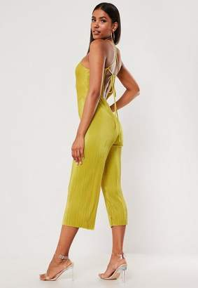 Missguided Mustard Plisse High Neck Strappy Back Culotte Romper