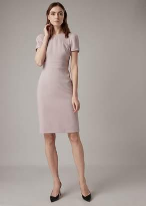 Giorgio Armani Plain Wool Crepe Dress With Overlap-Effect Neckline