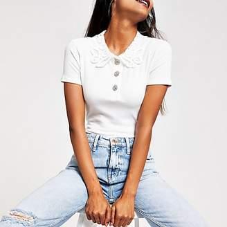 River Island Petite white lace collar T-shirt