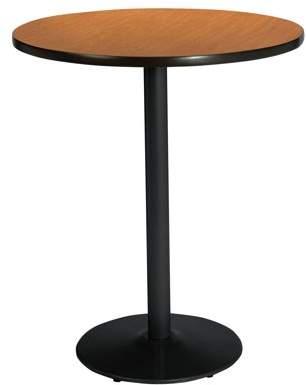 "KFI Seating KFI 30"" Round Pedestal Table with Medium Oak Top, Round Black Base, Bistro Height"