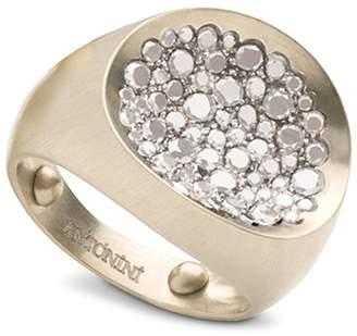 Antonini Matte 18K White Gold Matera Small Pave Silvermist Diamond Ring