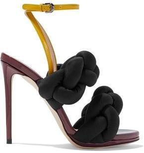 Marco De Vincenzo Braided Color-Block Faille And Patent-Leather Sandals