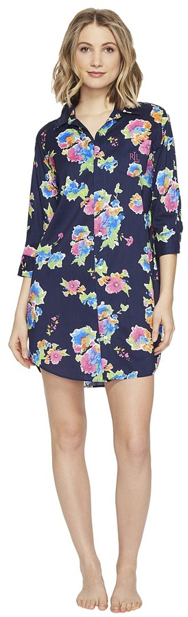 Lauren Ralph LaurenLAUREN Ralph Lauren - Cotton Rayon Lawn 3/4 Sleeve Sleepshirt Women's Pajama
